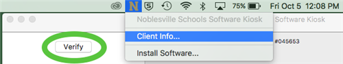 Screenshot of Noblesville School staff completeing a verify to update software