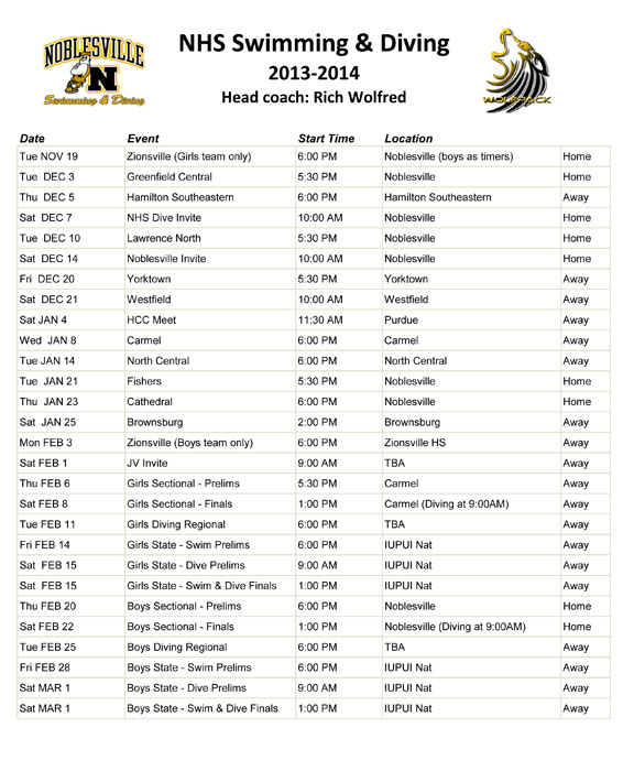 adirondack swimming meet schedule 2013