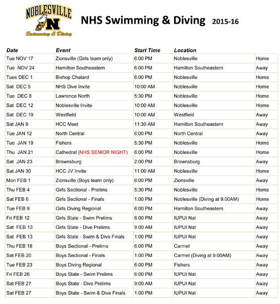 Boys and girls swimming and diving 2015 16 meet schedule Agincourt swimming pool schedule 2014